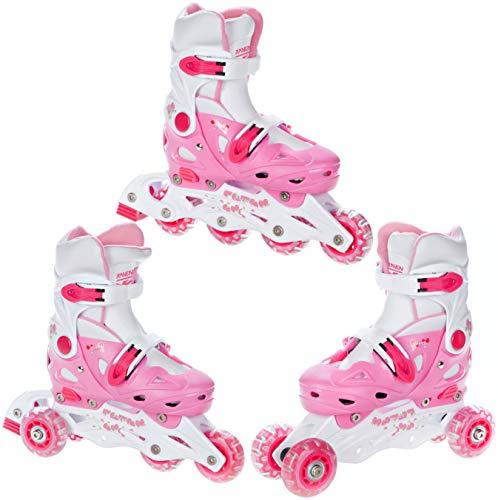 RAVEN 3in1 Kinder Inlineskates/Triskates/Rollschuhe Balloon verstellbar (Pink, 29-32 (18cm-20cm))