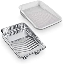 Metal Paint Tray with Liners, Paint Roller Tray/Liner, 10 Pack / 20 Pack / 30 Pack / 40 Pack, Metal Paint Tray 9-Inch 1-Quart Capacity (10)