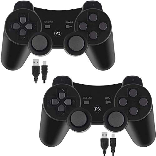 PS3 Controller Wireless for Playstation 3 Dual Shock (Pack of 2,Black)