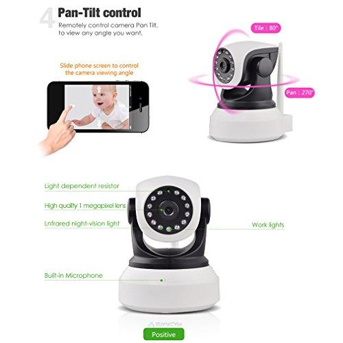 LESHP 720P Wireless IP Kamera HD,Überwachungskamera (Nachtsicht Bewegungsmelder, Videokamera, Kamera mit WiFi, WLAN Kamera, Indoor, Outdoor)