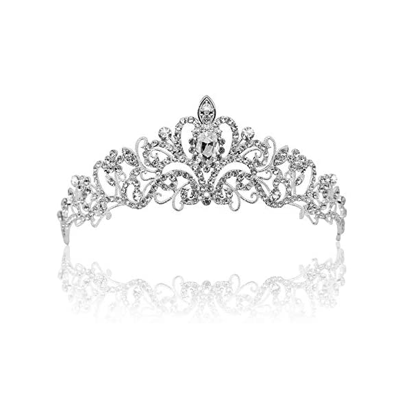 Vofler Crystal Tiara Crown Headband Headpiece Rhinestone Hair Jewelry Decor for Women Ladies Little Girls Bridal Bride Princess Birthday Wedding Pageant Prom Party with Pin Holes Sliver