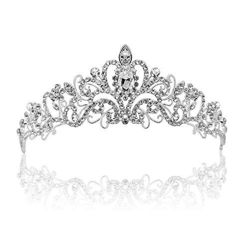 Vofler Crystal Tiara Silver Crown Headband Headpiece Rhinestone Hair Jewelry Decor for Women Ladies Little Girls Bridal Bride Princess Birthday Wedding Pageant Prom Halloween Costume Party