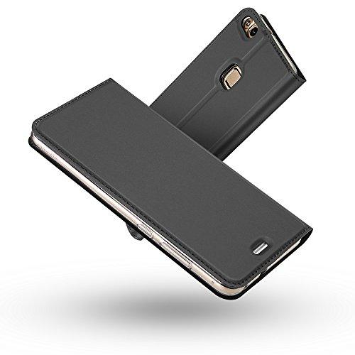Radoo Huawei P10 Lite Hülle, Premium PU Leder Handyhülle Brieftasche-Stil Magnetisch Folio Flip Klapphülle Etui Brieftasche Hülle Schutzhülle Tasche Hülle Cover für Huawei P10 Lite (Schwarz grau)