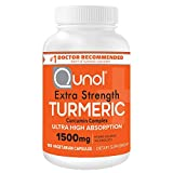 Qunol Turmeric Curcumin Capsules with Ultra High Absorption 1500mg Joint Support Dietary Supplement Extra Strength Vegetarian Capsules, Orange, 180 Count