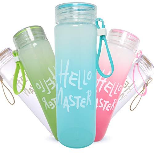 Trinkflasche aus Glas mit Schutzhülle | Wasserflasche Glas 500ml to Go|100% Auslaufsicher| Sportflasche Wasserflasche Camping Umweltfreundlich | Perfekt für Unterwegs und zum Sport BPA Frei (Weiß)