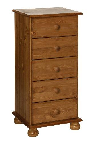 NJA Furniture Copenhagen Hochkante Kommode mit 5 Schubladen Kiefer in Antik-Optik