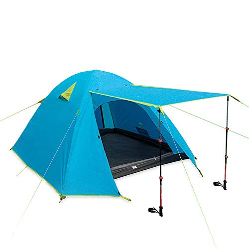 DGZJ Rahmen Zelte Zelt 2 Personen 3 Personen 4 Personen Strand Sonne und Regen Multi-Personen-Camping-Zelt Ideal für Camping Wandern Außen (Color : Blue, Size : 4person)