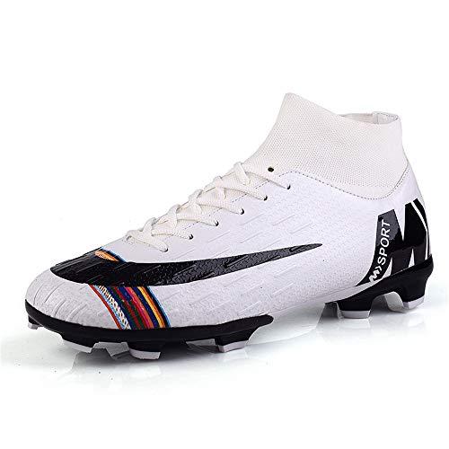 YSZDM Mans Fútbol Zapatos, Zapatos de Moda Transpirable fútbol Antideslizante Desgaste Formación Zapatillas de Deporte al Aire Libre para la Cubierta de Hierba Artificial,Blanco,35