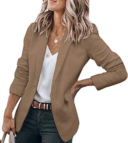 Cicy Bell Womens Casual Blazers Open Front Long Sleeve Work Office Jackets Blazer (Z-Dark Khaki, Large)