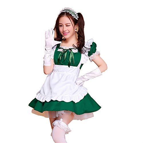 fagginakss Damen Kostüm, französisches Dienstmädchen Kleid Lolita Cosplay Uniform Schürze Dessous Set Minikleid mit Mieder für Halloween French Maid Kostüm mit Kleid Haarreifen Halsband Clubwear
