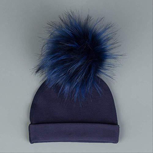 Bebé niña niño Invierno cálido Sombrero con Bola de Pelo Ropa de Cama Sombrero para niños pequeños Sombrero de algodón Sombrero 3 Azul Marino