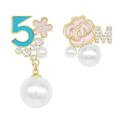 Fashion Jewelry Imitation Pearl Floral Statement Dangle Earrings for Women turquoise