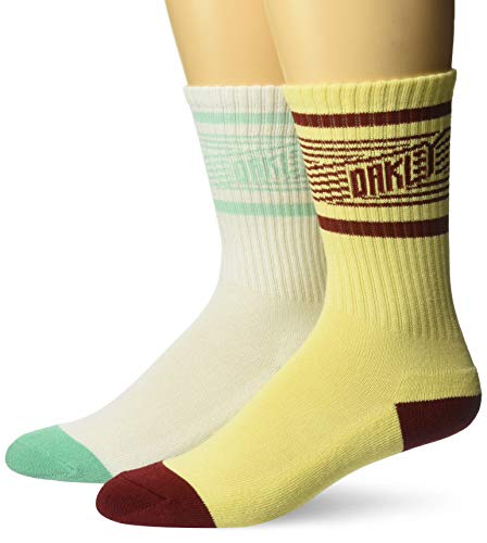 Oakley Mens Herren Striped Oakley (2 PCS Pack) Legere Socken, weiß, Medium