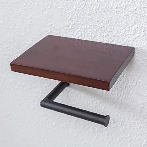 yuery Retro de hierro de baño de hotel rollo de papel estante de madera estante de papel higiénico titular de papel higiénico montado en la pared de baño estante aspicture6