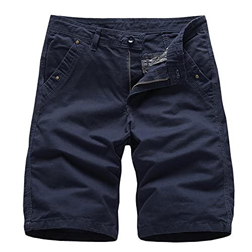 Pantalones Cortos Casuales de Color sólido para Hombre, Moda Simple, cómodos y Finos, Pantalones Cortos de Verano con Botones y Tapeta con Cremallera 36