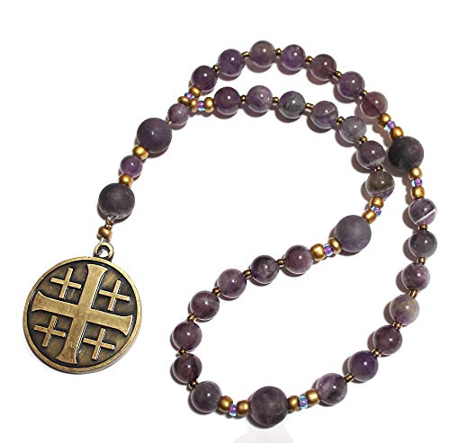 Genuine Amethyst, Heirloom Anglican Prayer Beads, Jerusalem Cross