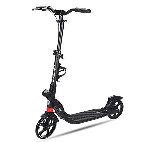 Patinetes deportivos con mango de altura ajustable Patinete de rueda grande Tecnología Lean to Steer con frenos dobles delanteros y traseros, estructura de acero, tabla de pie ancha, para adultos