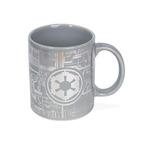 Star Wars Tasse Death Star Todesstern Oberfläche grau, silber foliert, aus Keramik, Fassungsvermögen ca. 315 ml.