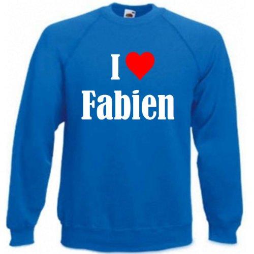 Reifen-Markt Sudadera I Love Fabien para mujer, hombre y niños en los colores negro, blanco y azul con impresión azul XL