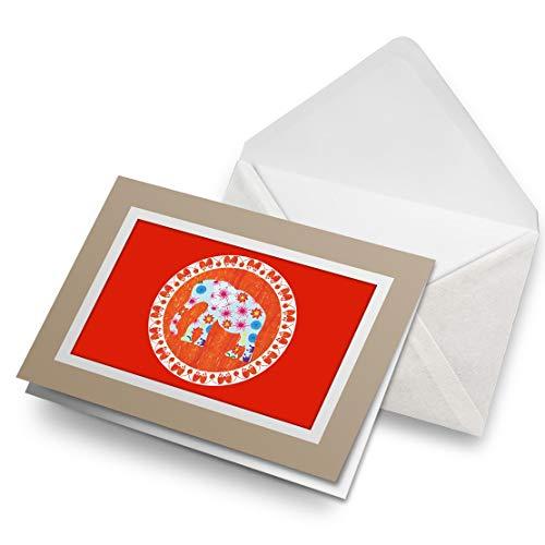 Fantastico Biglietto Di Auguri Biege (Inserto) – Arancione Floreale Indiano Elefante Mandala Vuoto Biglietto Di Auguri Di Compleanno Per Bambini Festa Ragazzi Ragazze #4456