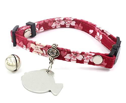 Aeici Katzenhalsband Stoff Halsband für Katzen Metall Fischform Kirschblüten Wine Rot M