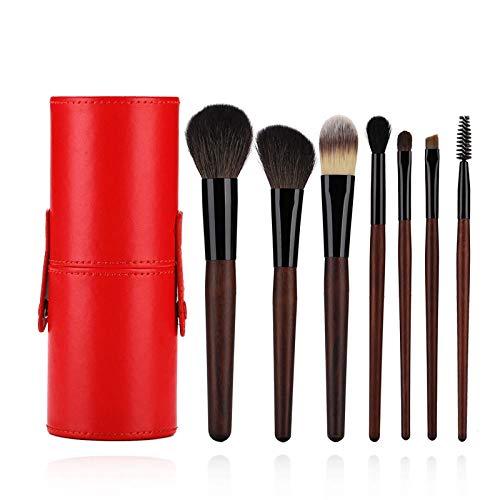 Jeu de pinceaux de beauté, fard à joues en poudre pour le fond, fard à paupières, mélange de Kabuki, débutant, 7 outils de maquillage, rouge