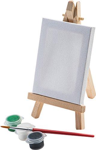 Mini Staffelei mit Leinwand Farben und Pinsel Malen Tischdekoration Namensschild Geburtstagsmitgebsel verschiedene Mengen von notrash2003® (1er)
