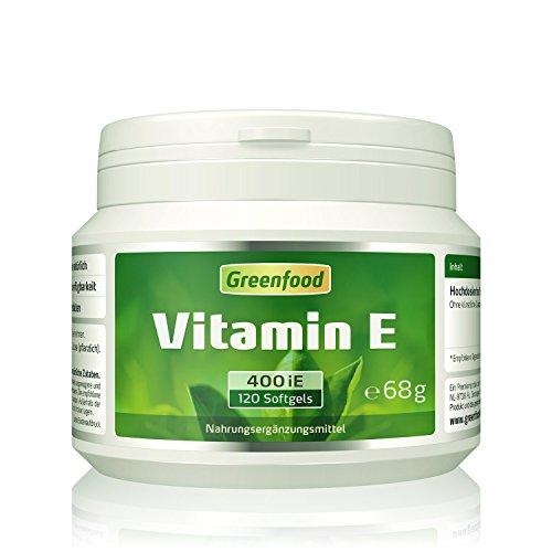 Vitamin E, 400 iE, hochdosiert, 120 Kapseln – wichtiger Anti-Oxidant, schützt die Zellen vor vorzeitiger Alterung (Anit-Aging). OHNE künstliche Zusätze. Ohne Gentechnik.