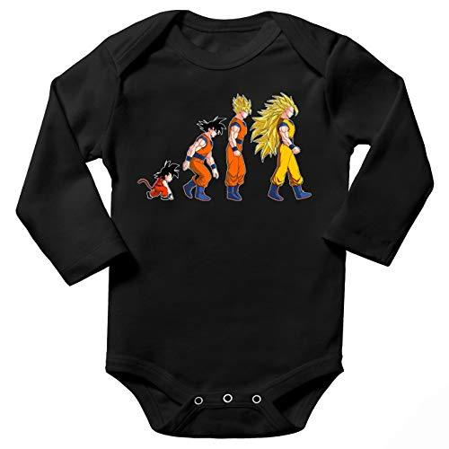 Okiwoki Body bébé Manches Longues Noir Parodie Dragon Ball Z - DBZ - Sangoku Super Saiyajin - La Théorie de l'évolution :(Body bébé de qualité supérieure de Taille 3 Mois - imprimé en France)
