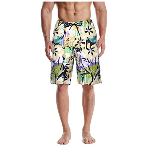 KaloryWee Strandhose für Herren Trunks 3D Print Grafik Tarnung Streifen Oberschenkellänge Männer Klassisch Casual Sportliche Strandhose(X-Large,Grün A)