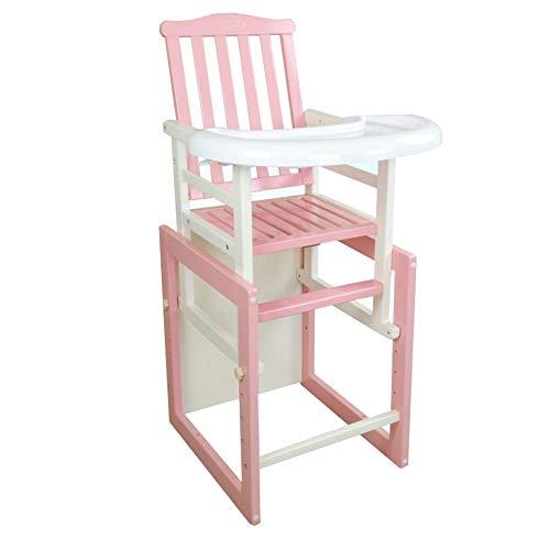 WJYY Mode Creative Petits meubles Anti-Slip Tabouret bébé Chaise haute de table chaises en bois massif multi-fonctions Table Anti-Dumping détachable multifonction Creative ménages,Rose,Grand