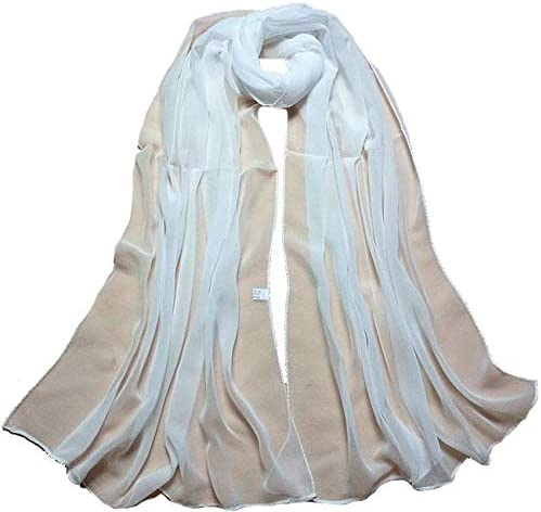 iCJJL Women's Basic White Scarf, Fashion Sheer Scarfs Shawl Wrap Scarves Solid Color Sunscreen Shawls Wraps for Women