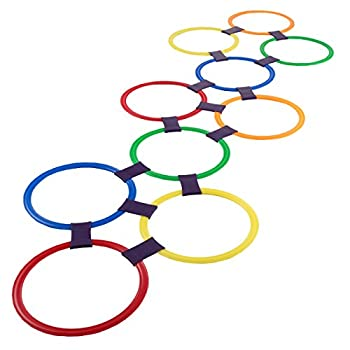 Hey! Play! Hopscotch Ring Game-10 Multi-Colored Plastic Rings and 15 Connectors for Indoor or Outdoor Use-Fun Creative Play Set for Girls and Boys