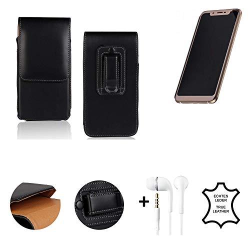 K-S-Trade® Leder Gürtel Tasche + Kopfhörer Für Doogee V Seitentasche Belt Pouch Holster Handy-Hülle Gürteltasche Schutz-Hülle Etui Schwarz 1x