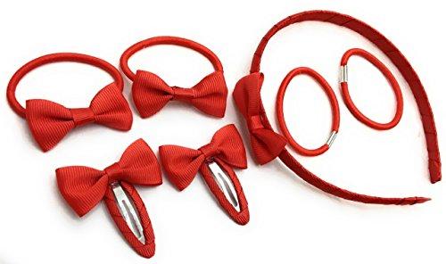 7 pièces d'école Couleurs Ensemble de pinces à cheveux Nœud Serre-tête élastiques Queue de cheval support Bandeau – Rouge