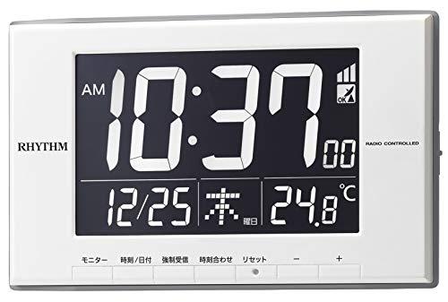 リズム(RHYTHM) 置き時計 白 12x19.4x2.1cm 目覚まし時計 電波時計 温度計 カレンダー LED ライト式 8RZ209SR03