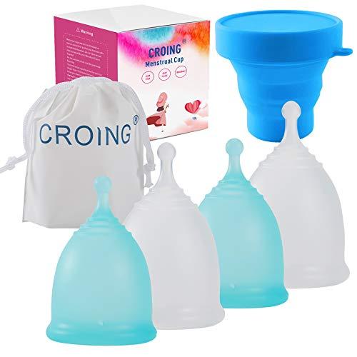 CROING 4 Copas Menstruales con 1 copa de esterilización -2 Piezas Pequeña y 2 Piezas Grande - Menstrual Cup (Azul y Blanco)