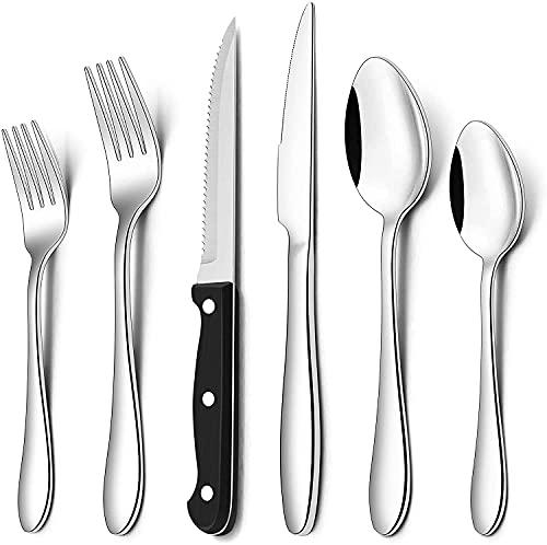 AIKKIL Set di posate con coltelli da bistecca e posate in acciaio inox, cucchiai forcelle, stoviglie lucidate a specchio, lavabili in lavastoviglie (48)