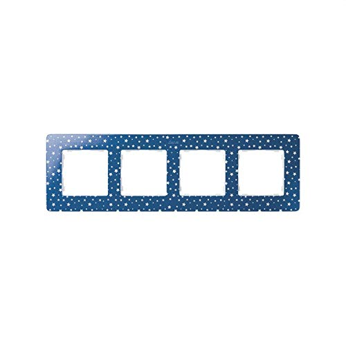 Simon 8200640-221 - Marco 4 Elem. Estrellas Azul Índigo