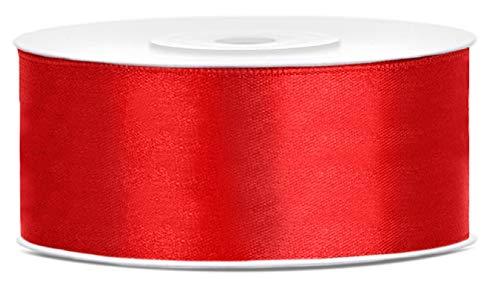 Libetui Breites Satinband Rot 25mm Schleifenband Rot Satin Dekoband Rot Geschenkband Rot Deko Band für Weihnachten, Weihnachtsdeko Geschenkband Rot Rolle 25m Rot