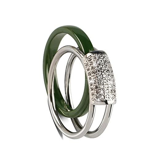 Anillos De Estilo Individual De Cerámica Para Mujer, Joyería Suave, Cristales Llamativos, Regalos De Moda De Color Verde7Green