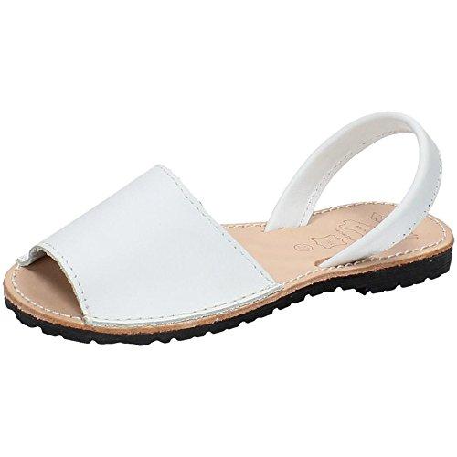 WHETIS 314 Menorquinas DE Piel Mujer Sandalias Blanco 43
