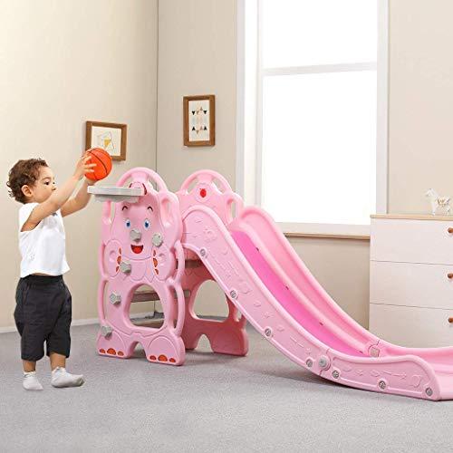 YLLN Toboganes Plegables para niños, Primer tobogán de plástico Independiente con aro de Baloncesto, Escalador y Juego de toboganes, tobogán Infantil multifunción para Interiores y Exteriores