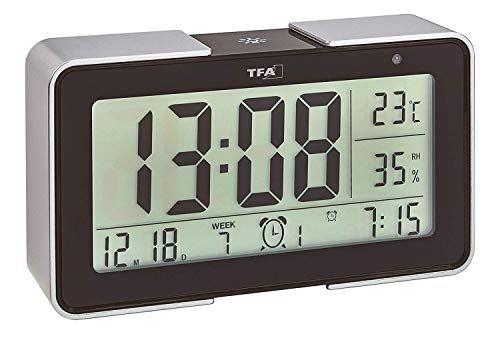 TFA 60.2540 Melody Radio Alarm Clock with Various Alarm Sounds (Black)