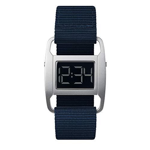 PXR-5 - Digitaluhr von Michael Young für VOID / Style: Matt Silber & Navyblaues Nylon Armband