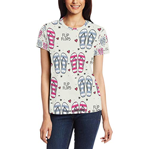 Doodle Chanclas Vector Pattern Camiseta casual para mujer, manga corta, cuello redondo, cómoda Bm002 XXL