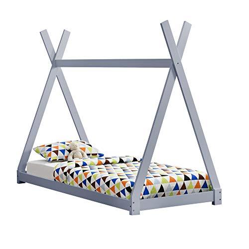 [en.casa] Cama para niños pequeños - Cama Infantil 200x90cm Estructura Tipi de Madera Pino Gris Claro