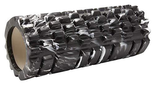 Fit Essentials Fitness Foam Roller - Gymnastikrolle Mittel-Hart, Premium Massagerolle, Faszienrolle wirbelsäule, 33x14, Pink (Marmor schwarz)