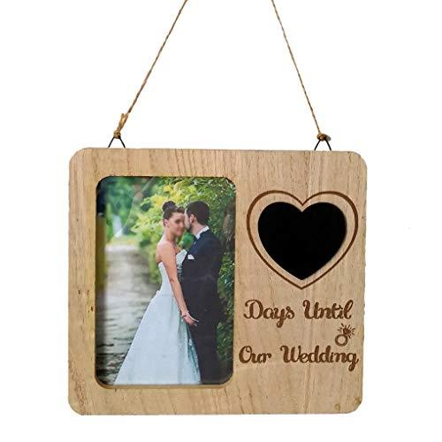 NAYUKY Hochzeit Countdown-Bilderrahmen aus Holz Hochzeit Ornament-Verpflichtungs-Geschenk Tischdekoration