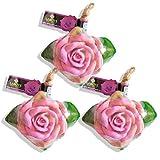 LABOTE Handgemachte thailändische Bio Naturseife Rose Violett mit typischem Duft, 3 Stück